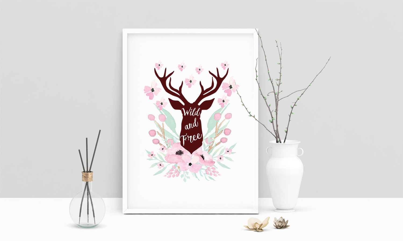 Deer Head Wild And Free
