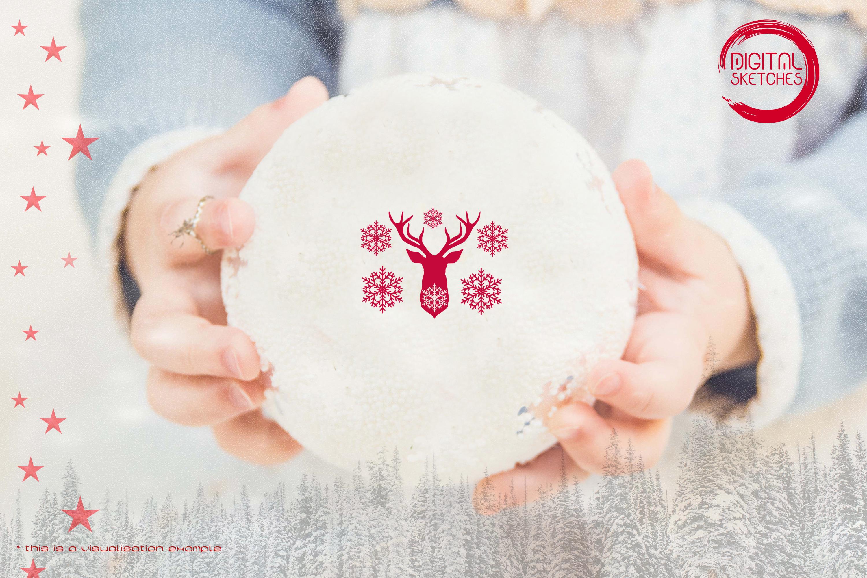 Deer Head Winter Snowflakes