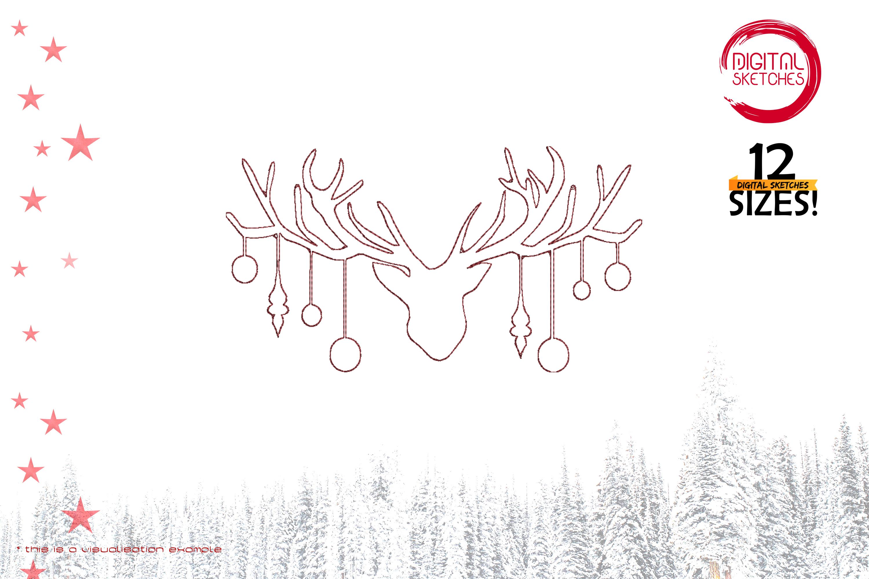 Christmas Deer Head Redwork Applique