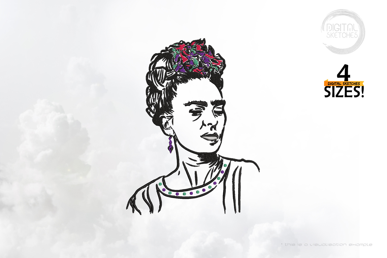 Tribute To Artist Magdalena Carmen Frieda Kahlo Y Calderon Kahlo aka Frida Kahlo (Line Art Portrait)