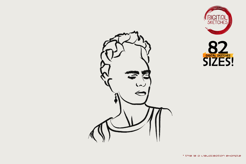 Tribute To Artist Magdalena Carmen Frieda Kahlo Y Calderon aka Frida Kahlo (Line Art)